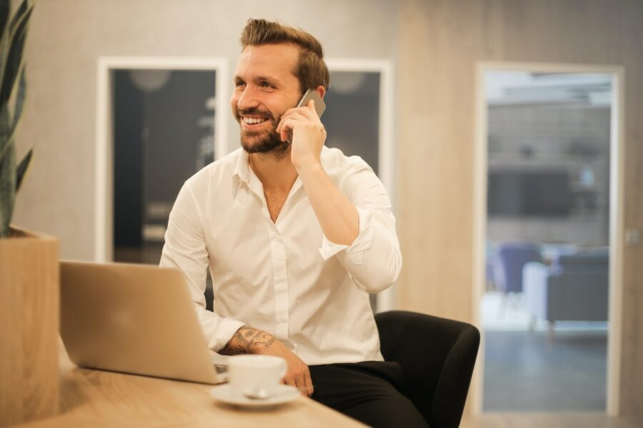 Man on telephone real estate construction recruiting
